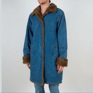 Other - Vintage Denim Coat with Faux Fur